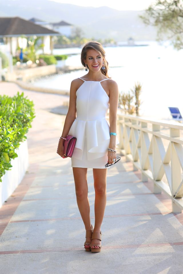 Spaghetti Strap Short White Vacation Peplum Dress