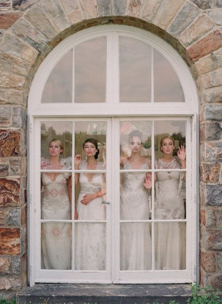 have a picture with me and bridesmaids looking out french doors