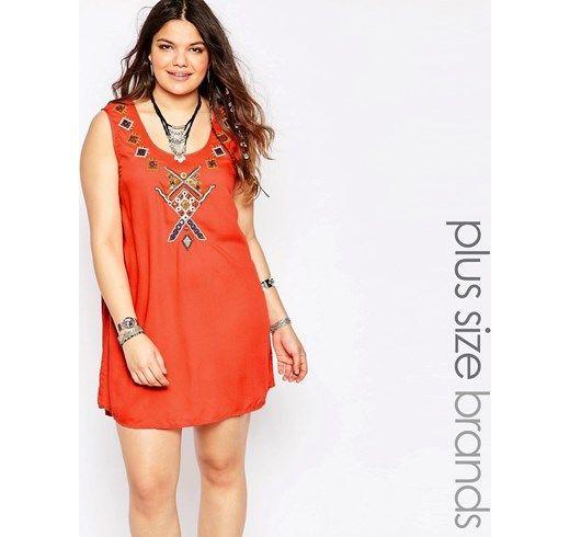 Vestido recto bordado con estampado simétrico de Alice & You asos el-naranja Viscosa
