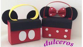 Dulceros de minnie y Mickey de cartón. Loncheritas dulceros de Mickey y minnie. - YouTube