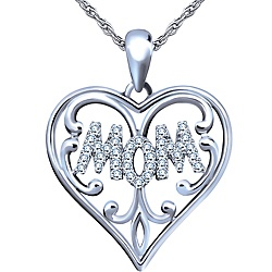 Ben Moss Jewellers 0.15 Carat TW, Sterling Silver Diamond Pendant With Chain I love this for my mom!