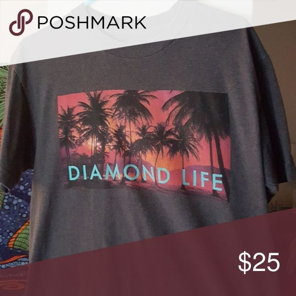 DIAMOND SUPPLY COMPANY  mens t-shirt size M DIAMOND LIFE PALM TREES SUNSET mens t-shirt size M Diamond Supply Co. Shirts Tees - Short Sleeve