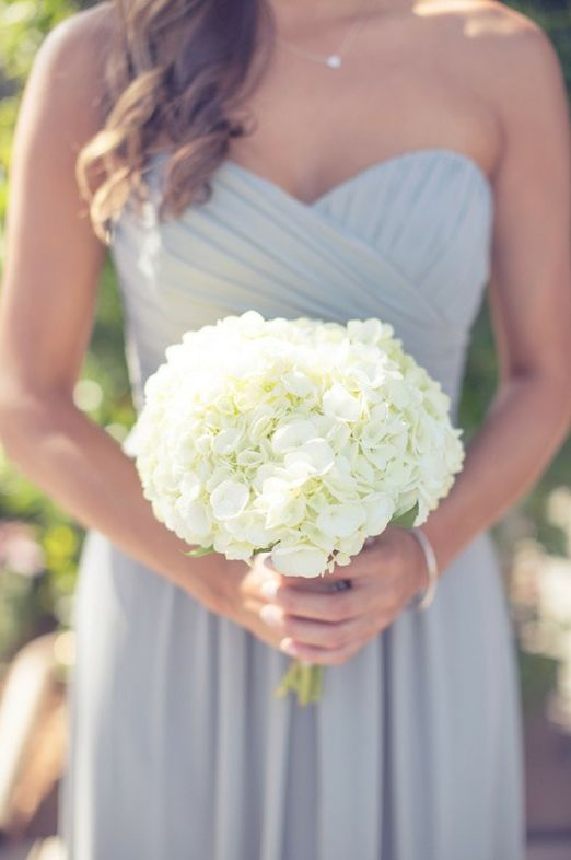 simple white hydrangea bridesmaid bouquet