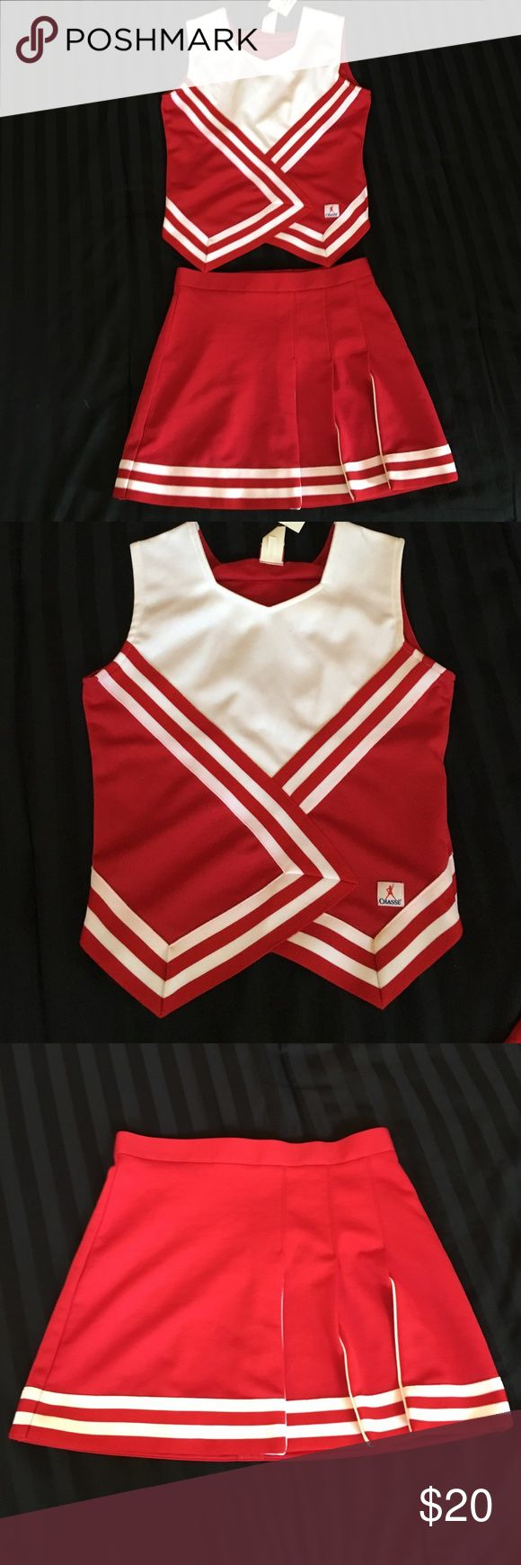 Chasse cheerleader uniform Brand new and never worn. Red and white cheerleader uniform. Adult top: xsmall and adult bottom small: 4. Great for Halloween! Chasse Skirts