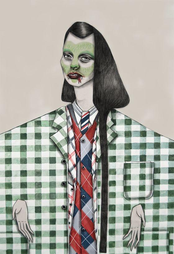 Tara Dougans Menswear F/W 2011 Fashion Week illustrations.
