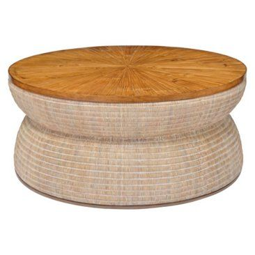 Check out this item at One Kings Lane! Round Drum Coffee Table, Natural