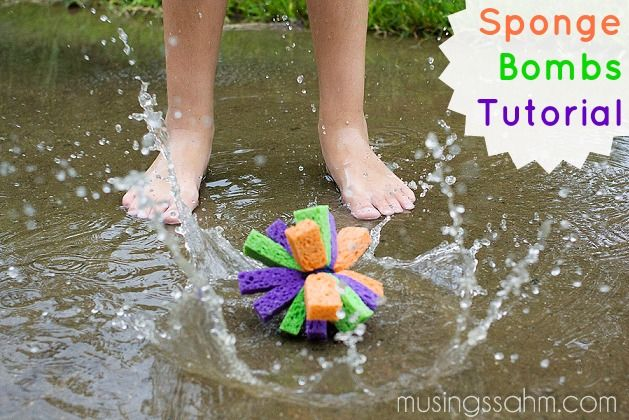 Sponge Bombs Tutorial - a quick, cheap, and easy-to-make water toy that is sure to wear your kids out!