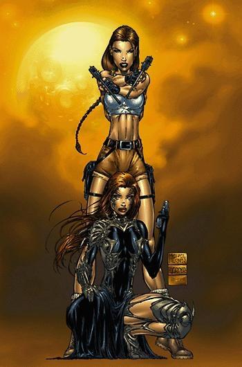 michael turner witchblade   Lara Croft & Witchblade by Michael Turner