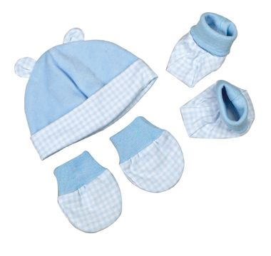 Beautiful premature baby hat,mitts and booties set. This 3 piece set is made from 80% cotton and 20% polyester velour on the outside and 100% interlock gingham cotton lining.Ideal pram wear with the soft feel of cotton and velour. Available in pink and blue. In sizes premature and Newborn.