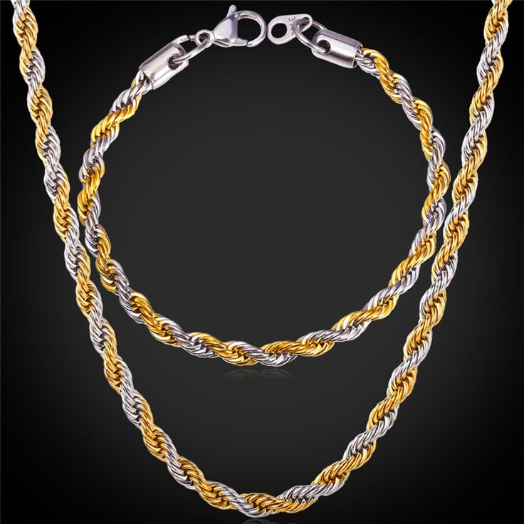 Cheap Jewelry Sets, Buy Directly from China Suppliers:                      316L Stainless Steel Bracelet Necklace Set Singapore Rope Chains 2015 Trendy 5MM Thick 18K G