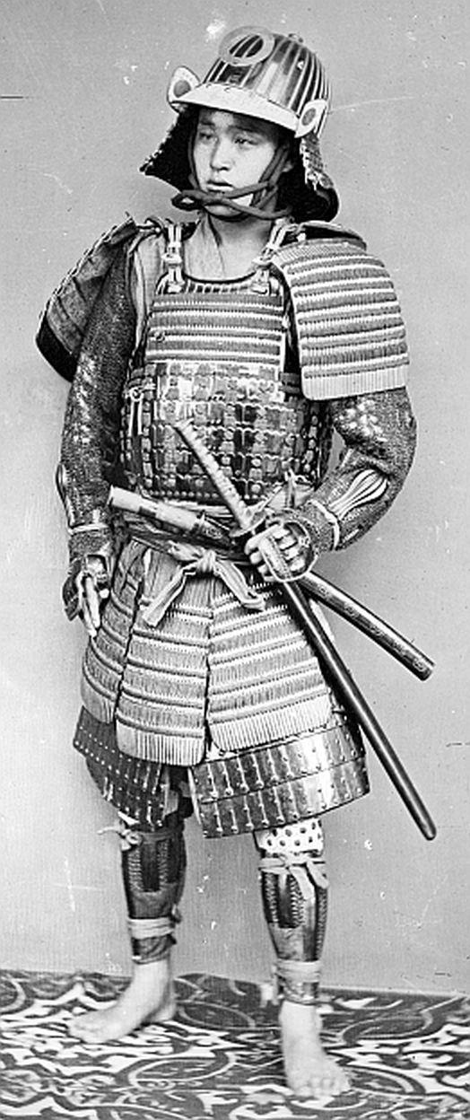 Samurai wearing armor by Wilhelm Burger.