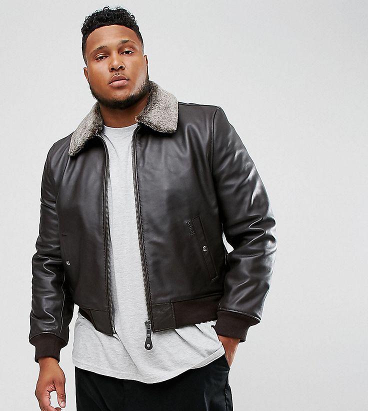Schott PLUS Leather Flight Jacket Detachable Faux Fur Collar Slim Fit