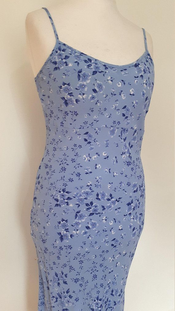 32ff3c0ffc Vintage 90s dress by BHS cornflower blue floral slip cami dress summer dress  size small