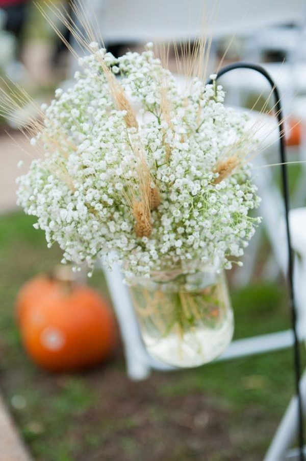 fall barn wedding Baby's breath and wheat / http://www.deerpearlflowers.com/wheat-wedding-decor-ideas/