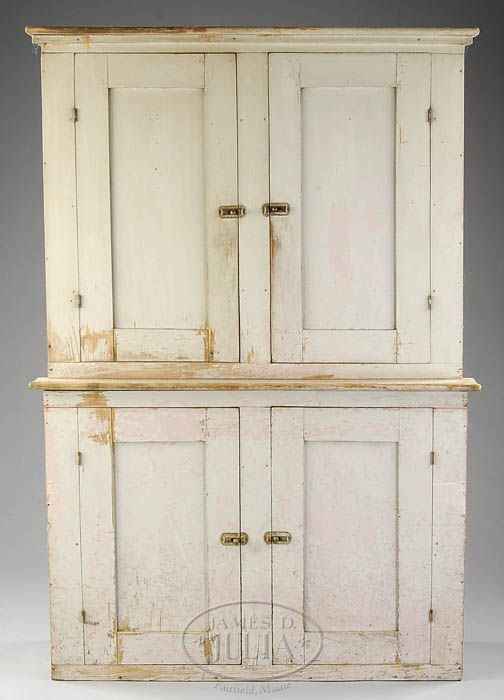 NEW ENGLAND PINE & BIRCH STEPBACK CUPBOARD IN GRAY PAINT. Reclaimed  FurnitureFarmhouse FurniturePrimitive FurnitureCountry ...