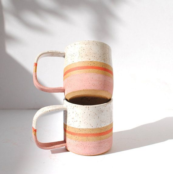 ***IN STOCK AND READY TO SHIP***  STRIPE COLLECTION  **this listing is for ONE mug**  This rustic, handmade mug is perfect for your morning coffee or tea. The mug was wheel thrown and fired twice in an electric kiln. It is made of speckled clay. The inside is fully glazed while the outside is left partially raw which creates an organic, rustic look and texture. The glazes do not contain lead and is food safe. Hand washing is strongly recommended, as with any handmade ceramics. Approximate…