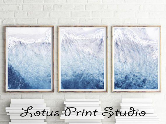 Set Of 3 Ocean Prints Aerial View Art Beach Decor Coastal Modern Waves Digital Gift For Her 038