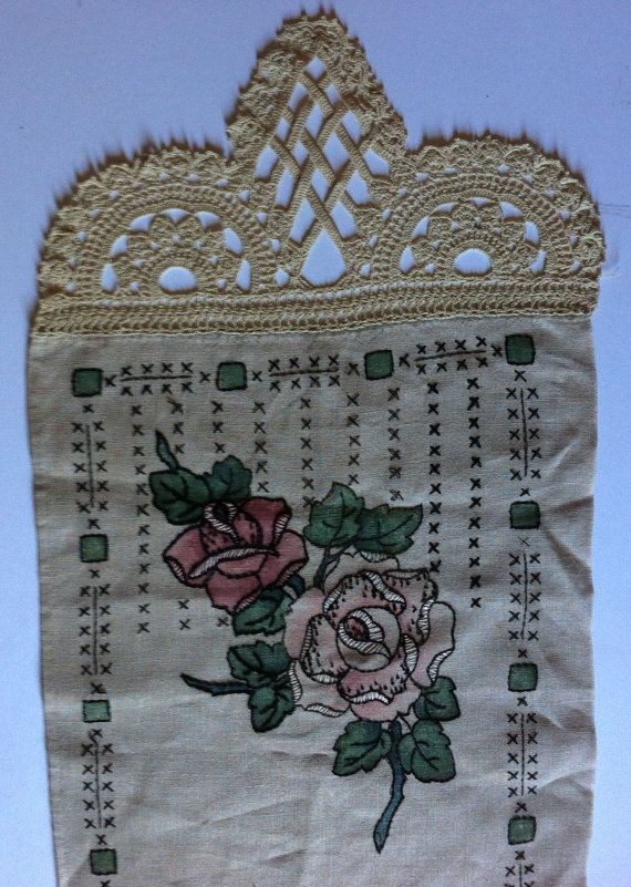 Antique Victorian Table Runner  Hand Embroidered by RumbleSeatCat