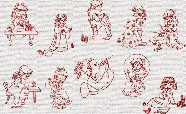 ARTE COM QUIANE - Paps,Moldes,E.V.A,Feltro,Costuras,Fofuchas 3D: Grátis Matrizes de Bordado com tema menina costurando - Brother Pe770