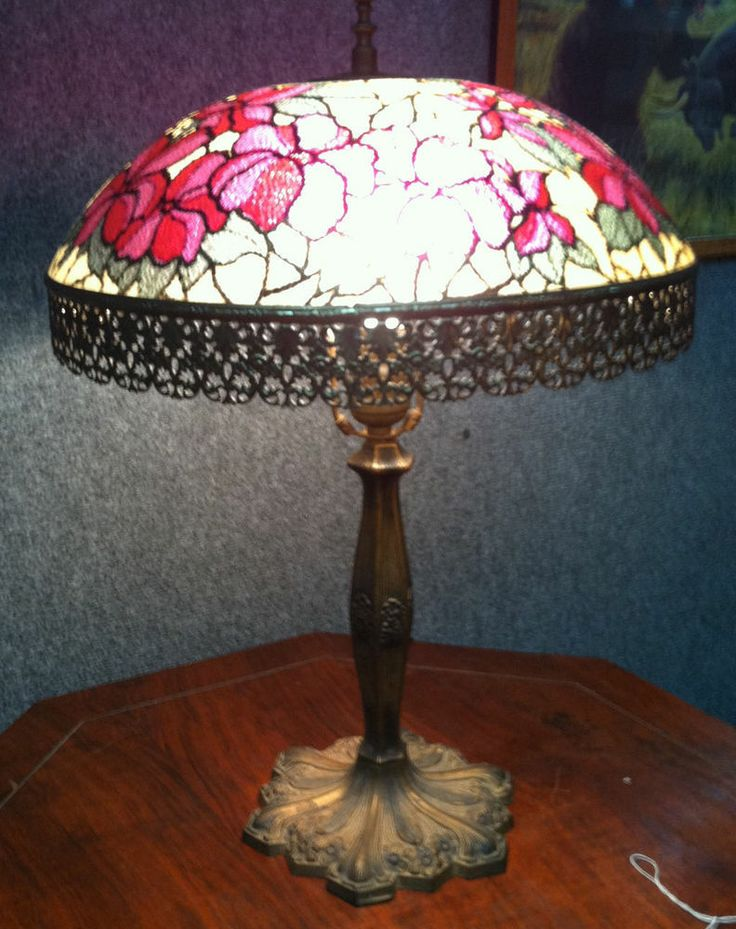 vintage 1970 39 s reverse lamp shade w tiffany style 2 piece lamp brass. Black Bedroom Furniture Sets. Home Design Ideas