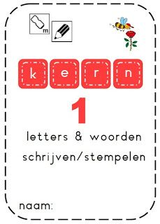 Juf Shanna: Boekje: woorden schrijven en stempelen - kern 1