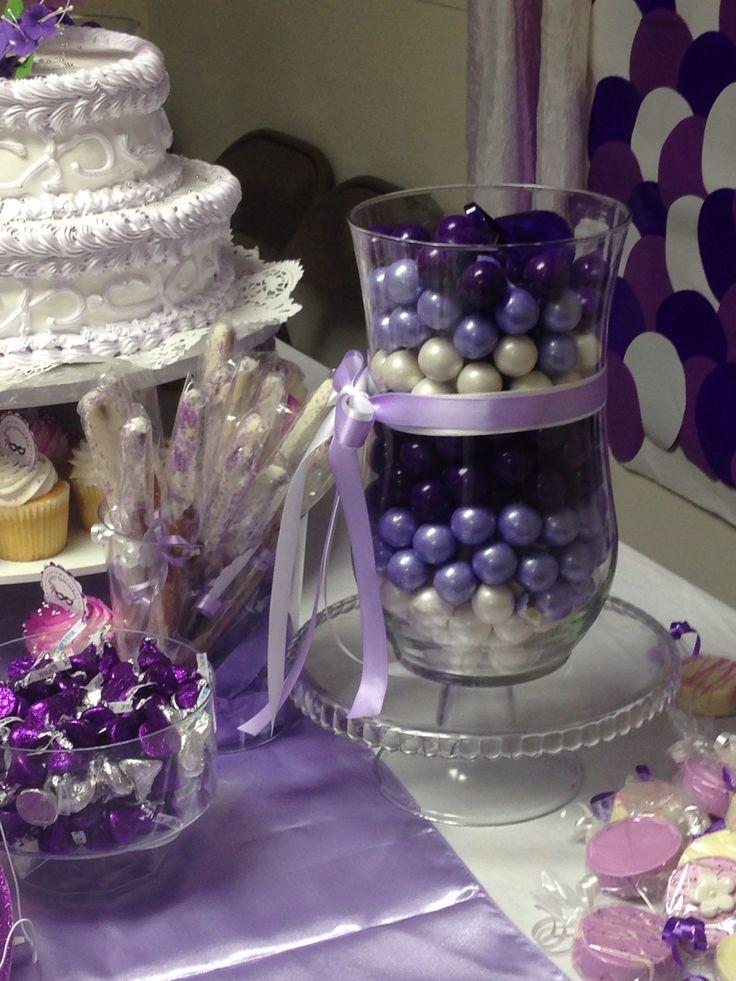 Purple Sweet 15 Table Decorations