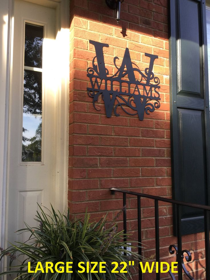 Front Door Wreath Custom Name Sign Monogrammed Wreath Metal Letters Weatherproof Tree of Life Monogram House Sign Door Monogram