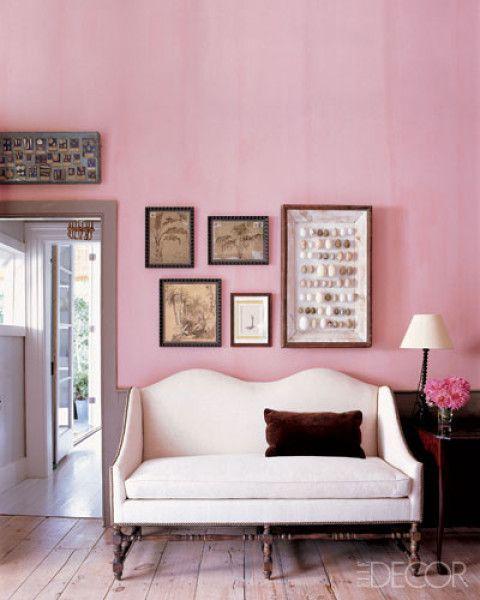 "lunchlatte: "" pink wall, Steven Gambrel design | Elle Decor • William Waldron """