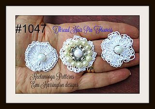 THREAD FLOWERS to crochet. Use these flowers to make hair pins, barrettes, bridal veil attachments, or to make brooches for hats and scarves, blazers or coats!