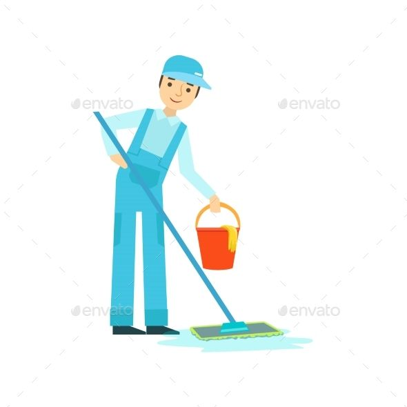 Man With Mop And Bucket Washing The Floor