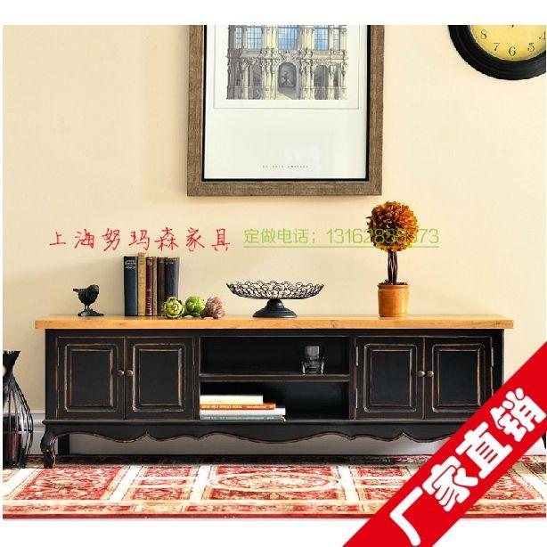 Американская страна, чтобы сделать старый в европейском стиле, мебель из темного дерева, изготовленный на заказ Пятно средиземноморской сельской местности TV кабинет - Taobao