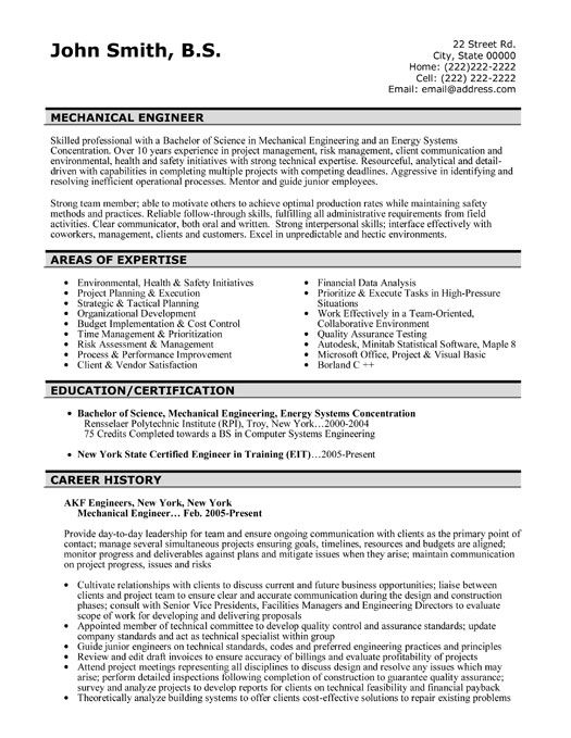 Engineering Resume Templates Mechanical Engineering Resume For