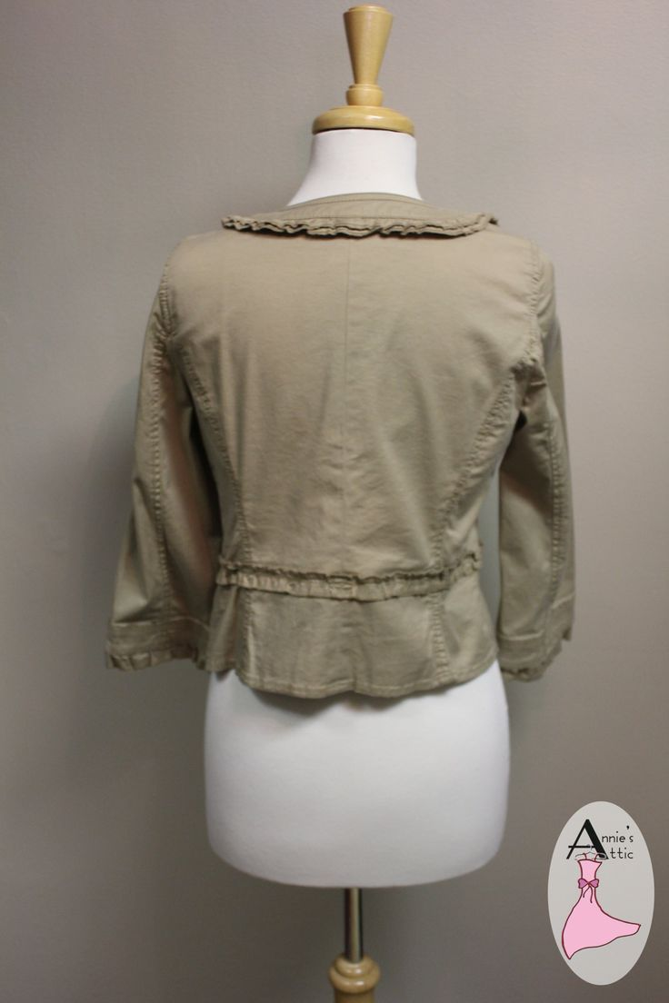 Ann Taylor LOFT jacket Size 6P 98% cotton, 2% spandex 3/4 sleeved jacket with ruffled accent around neckline, buttons, and sleeves $17.00