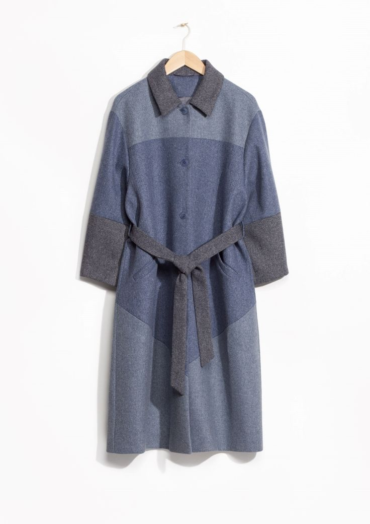 Other Stories image 1 of Patchwork Wrap Coat in Blue Reddish Dark