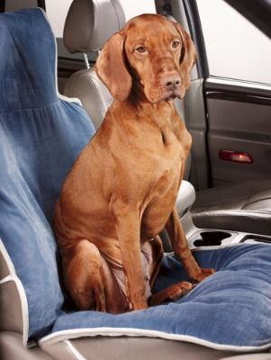 This pet friendly seat cover makes it easy to protect your car's interior and give your dog a comfortable place to sit.