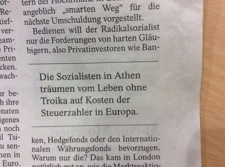 Per la #FAZ, house organ di #Merkel, i greci vogliono mangiare a sbafo, facendo pagare il conto alla #Germania.