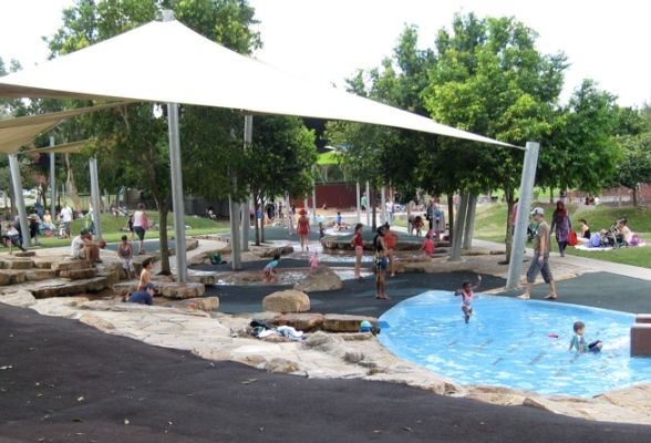 ROCKS RIVERSIDE PARK - massive recreational zones, open grassy spaces, waterpark with shallow pools and water trickling through the meandering man made watercourse, fountains & shade sails, large sandpits, bike paths, climbing nets, a flying fox!