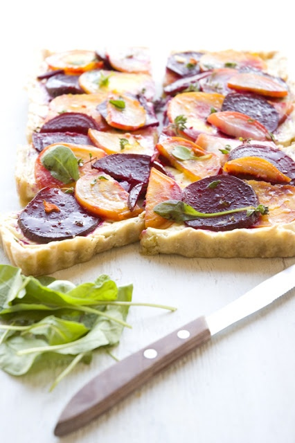 love beets: herbed goat cheese tart with roasted beets.