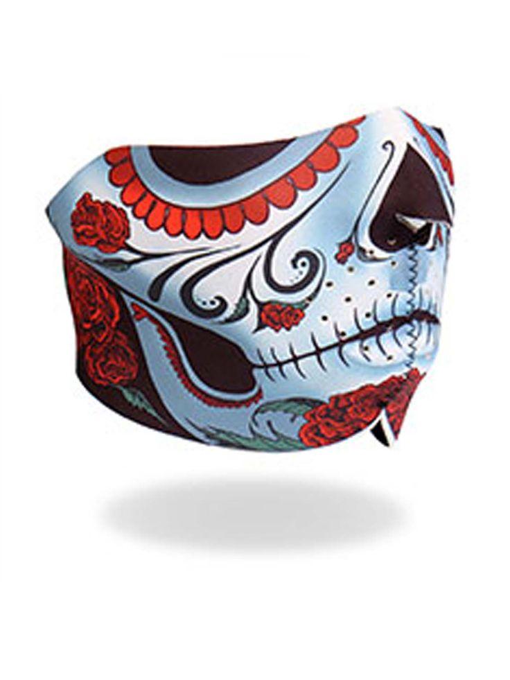 Calavera Sugar Skull Neoprene Motorcycle Half Face Mask