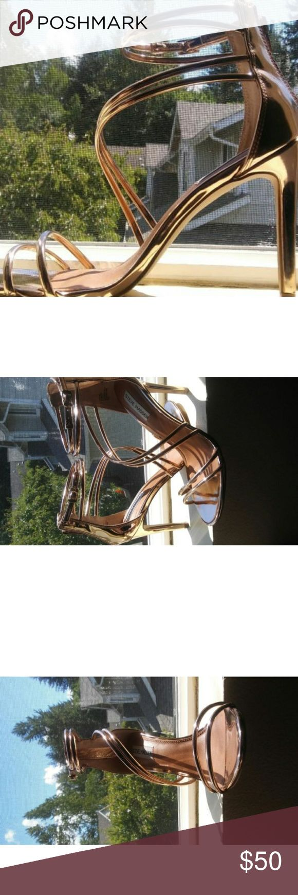 Rose Gold High Heels Has a zip up back and strappy small buckle on the side Steve Madden Shoes Heels