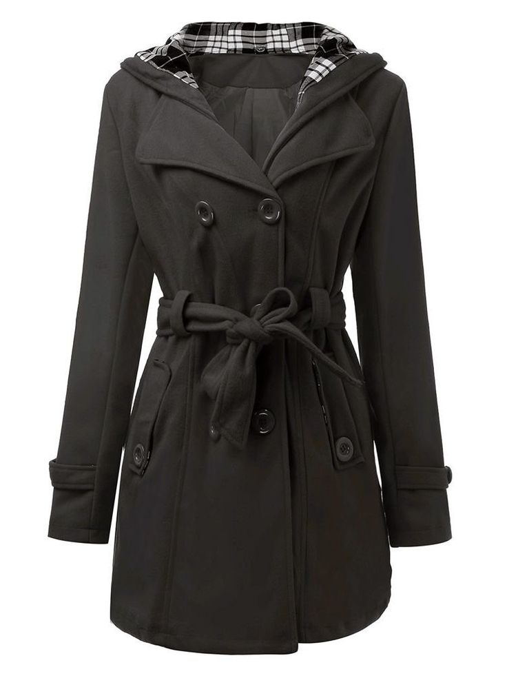 Women Belt Long Sleeve Solid Double Breasted Hooded Wool Coat