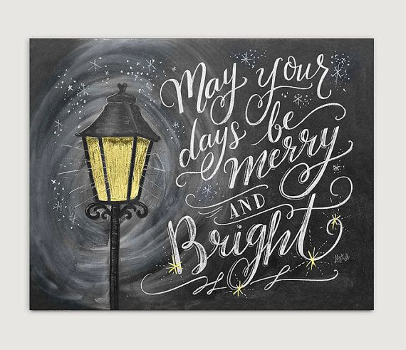 Christmas Wall Art  Merry and Bright  Christmas Print  | Etsy