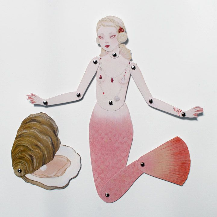 Fig. 1 Lost Pearl - articulated paper doll set with 11 silver brads. $12.00, via Etsy. by woolandwater: