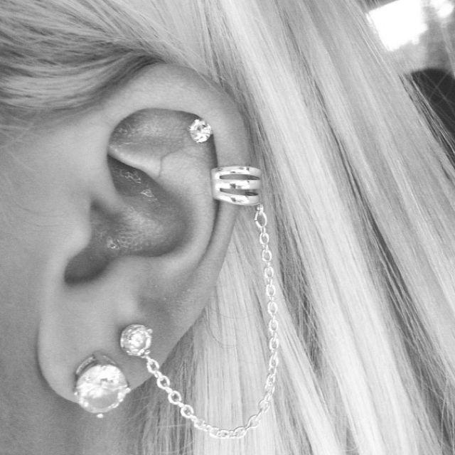 ear piercings | cartilage + diamonds + cuff .. love #accessories