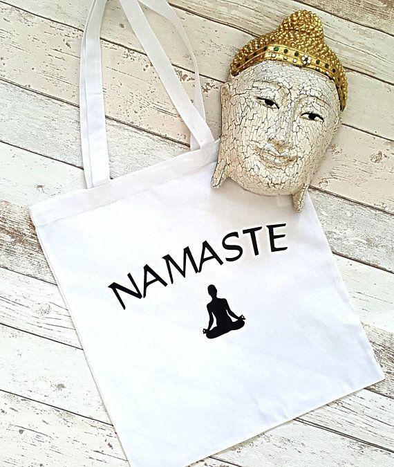 Yoga Bag Namaste White Cotton For Ping Exercise Gift Meditation Buddha Gifts Women