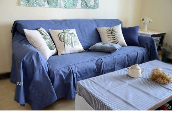 Dusty Blue Slipcover Throw Cover Slate Blue Sofa Scarf Etsy Blue Sofa Slipcovers Sofa Covers