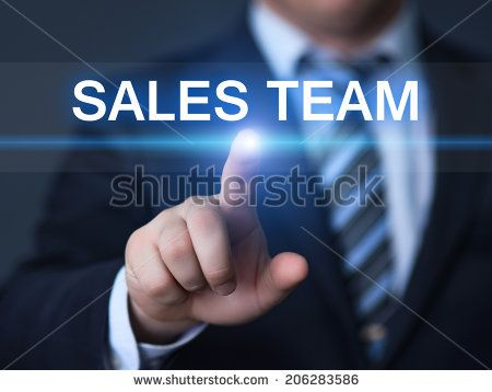 business, technology, internet and networking concept - businessman pressing sales team button on virtual screens - stock photo