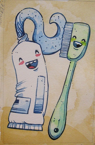 """Toothpaste and Friend 4"""" x 6"""", Watercolour on Paper, Justin Lee Visit our website www.argylefineart.com for more information on this piece, and the artist :)"""