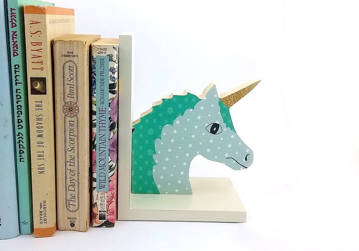Back to school, Childrens bookend Wooden unicorn , boys room decor, mint kids room decoration by PrettymShop on Etsy https://www.etsy.com/uk/listing/501888130/back-to-school-childrens-bookend-wooden