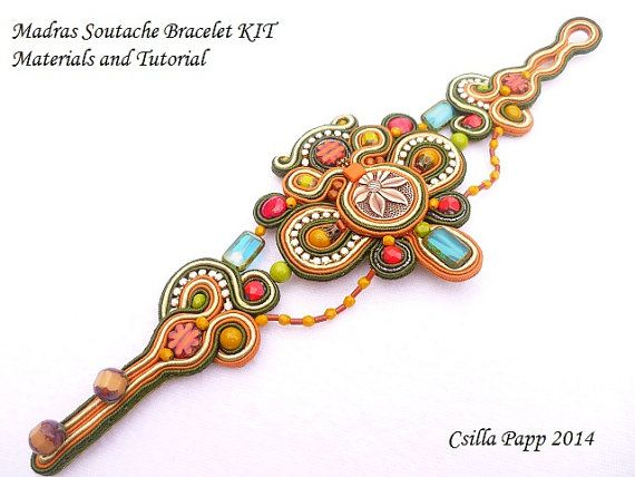 Madras Soutache Bracelet Diy kit materials and by
